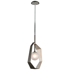 Origami Graphite with Silver Leaf 12-Inch LED Pendant with Frosted Clear Glass