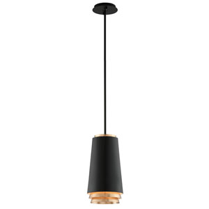 Fahrenheit Textured Black with Gold Leaf Accents 8-Inch LED Mini Pendant with Textured Black with Gold Leaf Accents