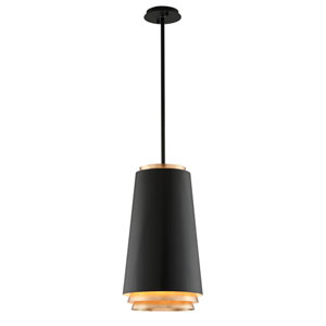 Fahrenheit Textured Black with Gold Leaf Accents 12-Inch LED Pendant with Textured Black with Gold Leaf Accents