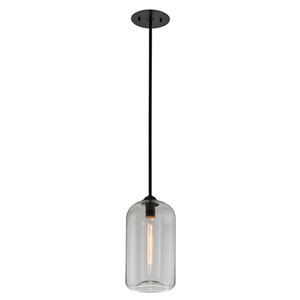 District Satin Black 8-Inch One-Light Mini Pendant with Clear Glass
