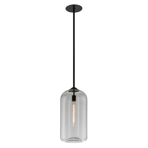 District Satin Black 10-Inch One-Light Mini Pendant with Clear Glass