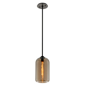 District Satin Black 8-Inch One-Light Mini Pendant with Plated Topaz Glass