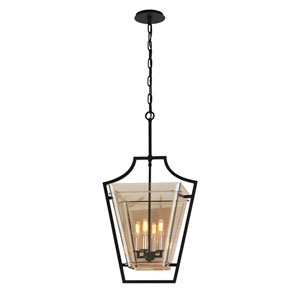 Domain Hand-Worked Iron with Polished Chrome Detail 17-Inch Four-Light Pendant with Plated Topaz Glass