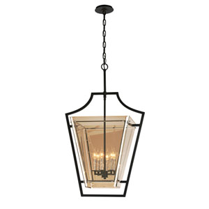 Domain Hand-Worked Iron with Polished Chrome Detail 23-Inch Six-Light Pendant with Plated Topaz Glass