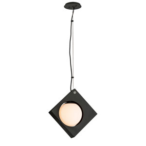 Conundrum Textured Black 11-Inch LED Pendant with Frosted White Glass