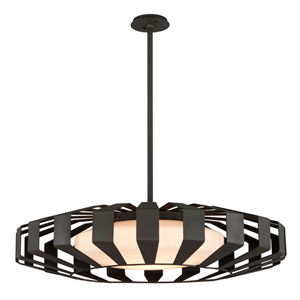 Impulse Textured Bronze 36-Inch LED Pendant with Opal White Glass