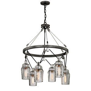 Citizen Graphite and Polished Nickel Six-Light Chandelier