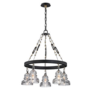 Menlo Park Deep Bronze Five-Light Chandelier