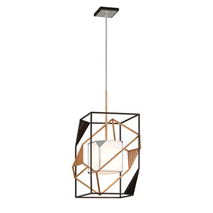 Cubist Bronze and Gold Leaf 18-Inch Pendant