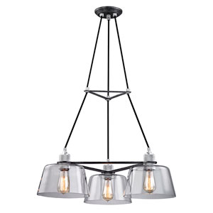 Audiophile Old Silver and Polished Aluminum Three-Light Chandelier