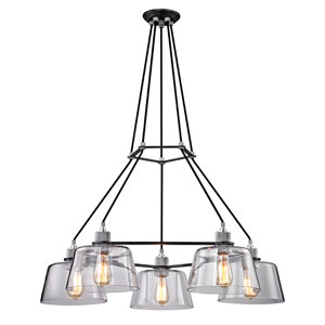 Audiophile Old Silver and Polished Aluminum Five-Light Chandelier