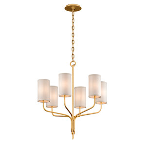 Juniper Textured Gold Leaf Six-Light Chandelier with Off-White Hardback Linen