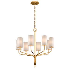 Juniper Textured Gold Leaf Eight-Light Chandelier with Off-White Hardback Linen