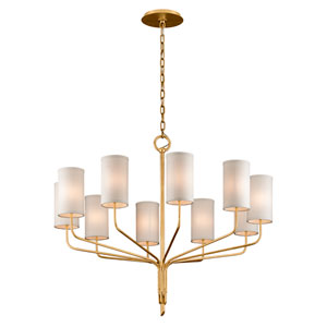 Juniper Textured Gold Leaf Ten-Light Chandelier with Off-White Hardback Linen