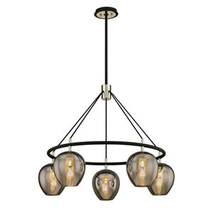 Iliad Carbide Black and Polished Nickel Five-Light Pendant with Plated Smoke Glass