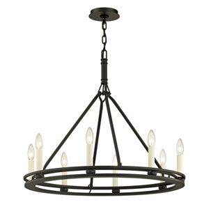 Sutton Textured Black Eight-Light Chandelier