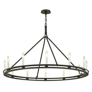 Sutton Textured Black Twelve-Light Chandelier
