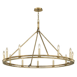 Sutton Champagne Silver Leaf Twelve-Light Chandelier