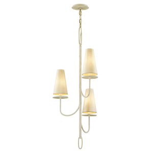 Marcel Gesso White Three-Light Chandelier with Off-White Hardback Cotton