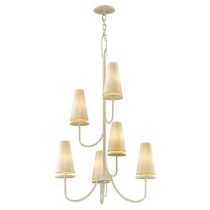 Marcel Gesso White Six-Light Chandelier with Off-White Hardback Cotton