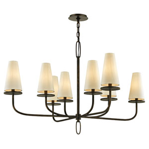 Marcel Pompeii Bronze 29-Inch Chandelier with Off-White Hardback Cotton