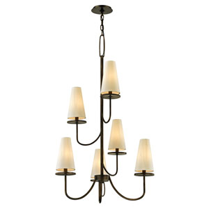 Marcel Pompeii Bronze Six-Light Chandelier with Off-White Hardback Cotton