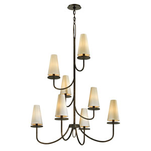 Marcel Pompeii Bronze 49-Inch Chandelier with Off-White Hardback Cotton