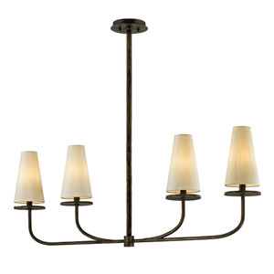 Marcel Pompeii Bronze Four-Light Linear Pendant with Off-White Hardback Cotton