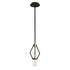 Raef Textured Black and Polished Nickel 15-Inch Mini Pendant with Dark Bronze