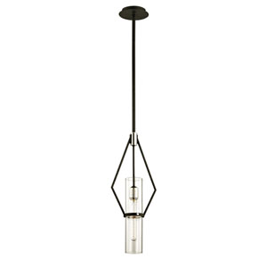 Raef Textured Black and Polished Nickel 24-Inch Mini Pendant with Dark Bronze