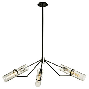 Raef Textured Black and Polished Nickel Three-Light Pendant with Dark Bronze