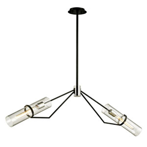 Raef Textured Black and Polished Nickel Two-Light Linear Pendant with Dark Bronze