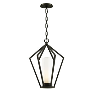 Whitley Heights Textured Black  One-Light Outdoor Pendant with Opal White Glass
