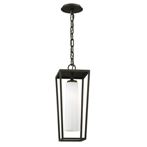 Mission Beach Textured Black  One-Light Outdoor Pendant with Opal White Glass