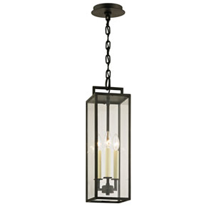 Beckham Forged Iron Three-Light Outdoor Pendant with Dark Bronze