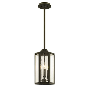 Hancock Vintage Bronze Three-Light Outdoor Pendant with Clear Seeded Glass