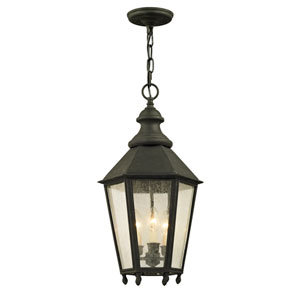 Savannah Vintage Iron Three-Light Outdoor Pendant with Clear Seeded Glass