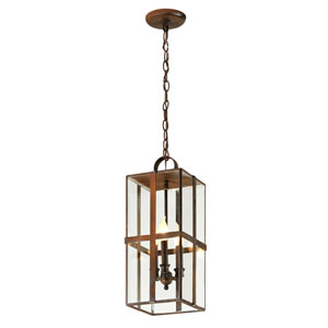 Rutherford Charred Bronze Three-Light Outdoor Pendant with Dark Bronze
