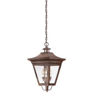 Oxford Natural Rust Three-Light Outdoor Hanging Lantern