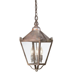 Preston Natural Rust Three-Light Outdoor Hanging Lantern