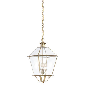 Montgomery Natural Aged Brass Four-Light Outdoor Hanging Lantern