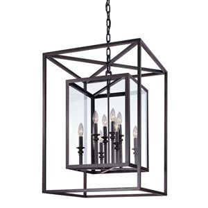 Morgan Deep Bronze Eight-Light Pendant with Clear Glass