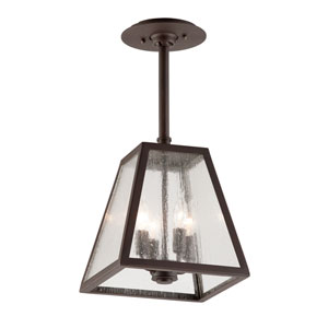 River Valley Rust Four-Light Semi-Flush Mount with Clear Seeded Glass