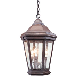 Matte Black Three-Light Hanging Lantern Pendant with Clear Seeded Glass