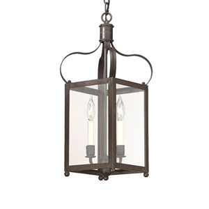 Charred Iron Two-Light Hanging Lantern Pendant with Clear Seeded Glass