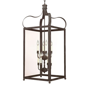 Charred Iron Eight-Light Hanging Lantern Pendant with Clear Seeded Glass