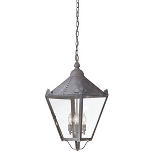 Charred Iron Four-Light Hanging Post Mount Lantern with Clear Seeded Glass