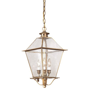 Montgomery Natural Aged Brass Three-Light Outdoor Hanging Lantern