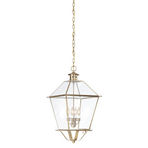 Montgomery Natural Aged Brass Four-Light Hanging Glass Top Lantern with Clear Seeded Glass