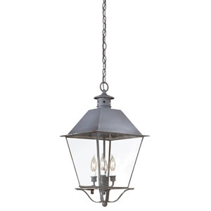 Charred Iron Four-Light Hanging Metal Top Lantern with Clear Seeded Glass